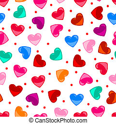 Seamless fun colorful heart shape pattern over black