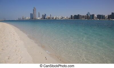 Beach and Abu Dhabi skyline - Beach and Abu Dhabi skyline,...
