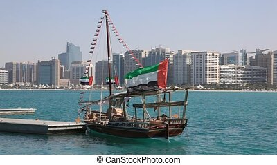 Traditional dhow in Abu Dhabi - Traditional arabic dhows in...