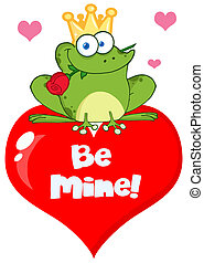 Frog Prince On A Red Heart Cartoon Character