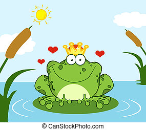 Frog Prince On A Leaf In Lake - Crowned Frog Prince On A...
