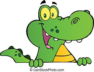 Aligator Or Crocodile Over A Sign Cartoon Character
