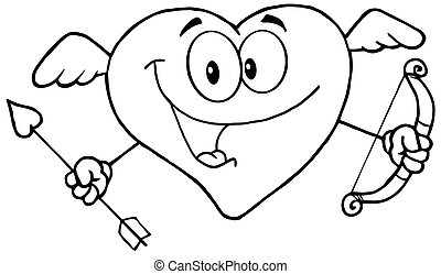 Outlined Happy Heart Cupid
