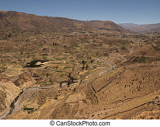 Colca canyon in mountains of Peru