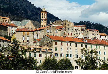 City of Corte in Corsica - Panoramic view of the citadel and...