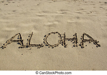 Aloha in the Sand - the word aloha written in beach sand