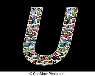 "Letter ""U""collage of travel photos"