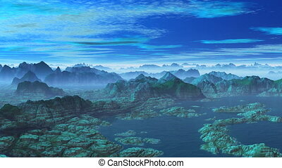 Blue mountains are shrouded by a fog The sea On the sky...