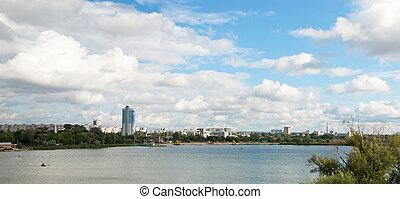 Kharkov panorama - Kharkov river in Kharkov city, Ukraine,...