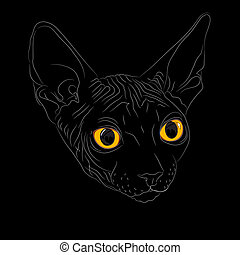 vector sketch the cat breed Sphynx - Close-up portrait,...