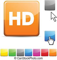 HD glossy button. - HD glossy vibrant web icon.