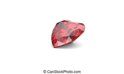 Rotating red heart shaped diamond on white background