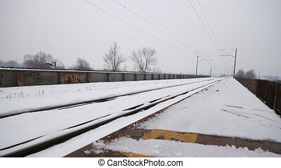 winter railroad track