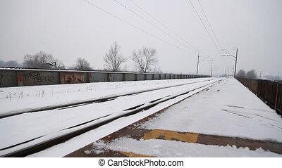 winter railroad track