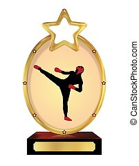 Kick boxing Trophy - Illustration of an isolated trophy with...
