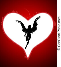 Angel Of My Heart - An angel within a large love heart for...