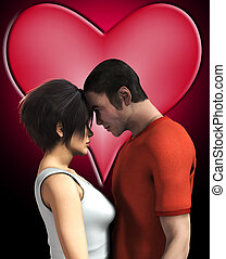 Loving Couple Together - Man and women in love with heart...