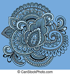 Henna Abstract Ornate Doodle Vector - Hand-Drawn Intricate...