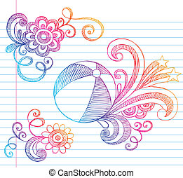 Beach Ball Sketchy Summer Doodle - Hand-Drawn Summer...
