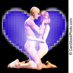 Nude Man And Women In Love - Nude man and women in a loving...