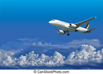 Airliner is landing on cloudy sky background - vector