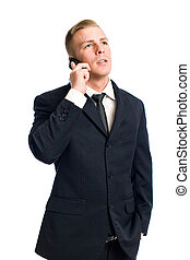 Businessman talking on his cellphone - Half length portrait...