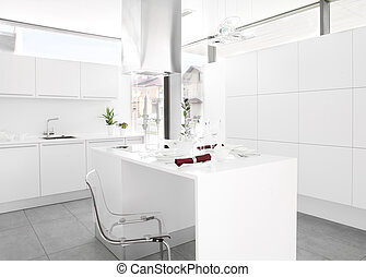 White kitchen - Interior of bright white kitchen