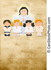 first communion card vertical, angel with a group of...