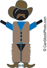 Cowboy - simple drawing of a cowboy figure in chaps, vest,...