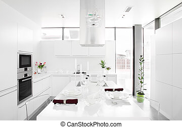 White kitchen - Interior of bright white kitchen