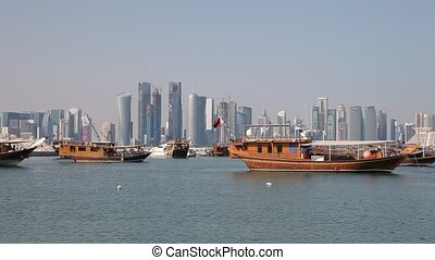 Traditional arabic dhows in Doha