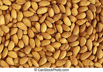 Almond Background - Closeup of whole almond nuts for...