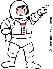 Cartoon Astronaut Standing Pointing - illustration of an...
