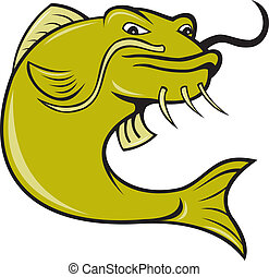 Angry Cartoon Catfish Fish - illustration of angry catfish...