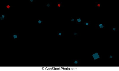 Squares - Red and blue squares rotate on a black background