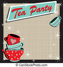 Stacked tea cups Tea Party Invitation in a retro style