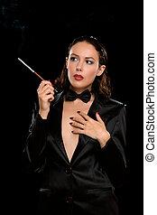 肖像, 香煙, 婦女, 年輕, 雅致