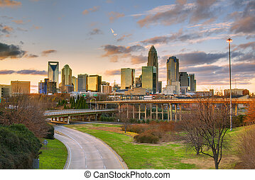 Charlotte Skyline - Skyline of Charlotte, North Carolina at...