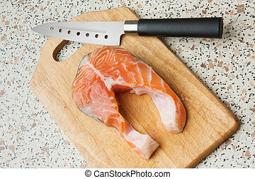butchering of salmon