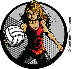 Female Volleyball Player Cartoon - Volleyball Sport Girl and...