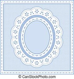 Eyelet Lace Frame, Pastel Blue - Eyelet lace doily oval...