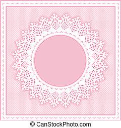 Eyelet Lace Frame, Pastel Pink - Eyelet lace doily round...
