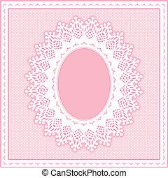 snörhål, spets, ram, pastell, rosa