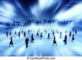 Virtual city with Virtual people - Concept of virtual world...