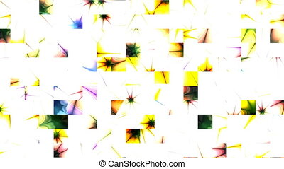 Color mosaic consisting of squares on a white background