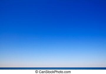 vacker, marinmålning, blå,  sky