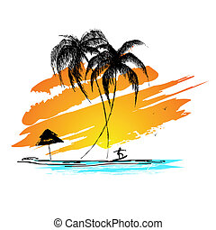 Sea Beach - illustration of sunset view of sea beach with...