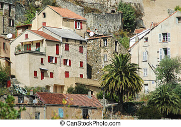 Corte city, Corsica - View of the citadel and the city of...