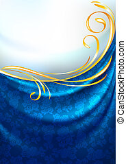 Fabric curtain, background, gold vignette