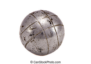isolated outdoor game old metallic ball